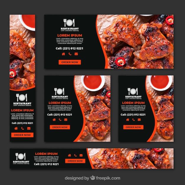 Raccolta di banner ristorante grill barbecue con foto Vettore gratuito