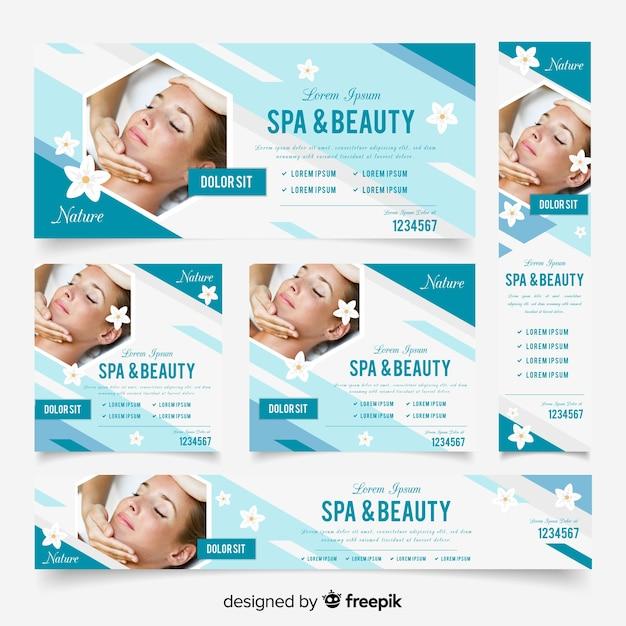 Raccolta di banner spa con foto Vettore gratuito