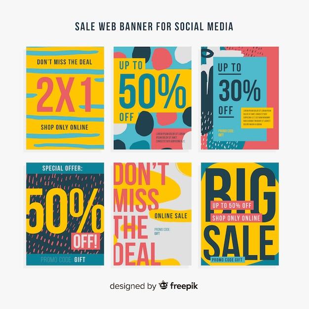 Raccolta di banner web di vendita per social media Vettore gratuito