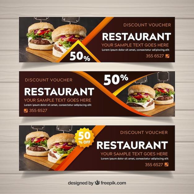 Raccolta di banner web ristorante con foto Vettore gratuito