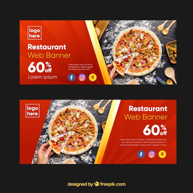 Raccolta di banner web ristorante pizzeria con foto Vettore gratuito