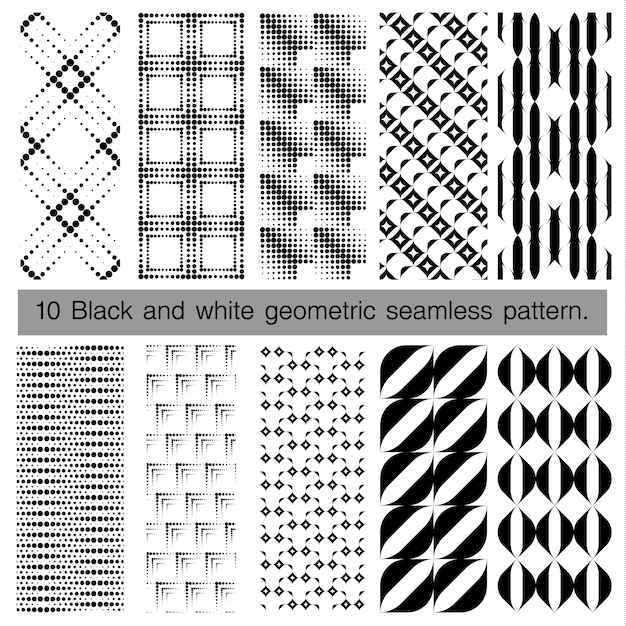 Raccolta di bianco e nero motivo geometrico senza soluzione di continuità. Vettore Premium