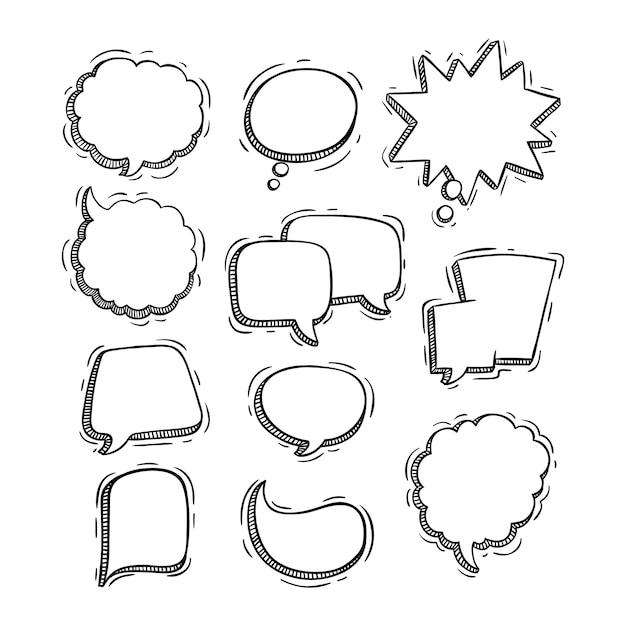 Raccolta di bolle di chat di stile abbozzato o doodle Vettore Premium