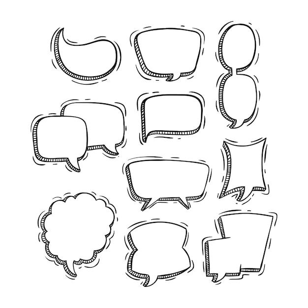Raccolta di bolle di discorso carino con stile doodle Vettore Premium