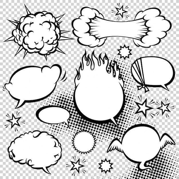 Raccolta di bolle di discorso di stile comico. illustrazione di elementi di disegno vettoriale divertente. Vettore Premium