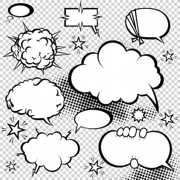 Raccolta di bolle di discorso di stile comico Vettore Premium
