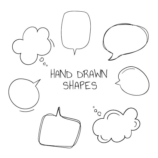 Raccolta di bolle di discorso disegnato a mano Vettore gratuito