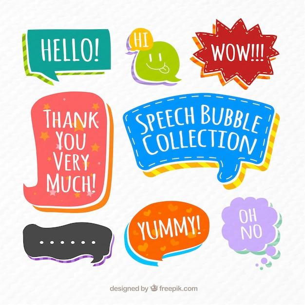 Raccolta di bolle di discorso Vettore gratuito
