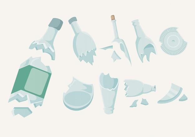 Raccolta di bottiglie rotte Vettore gratuito