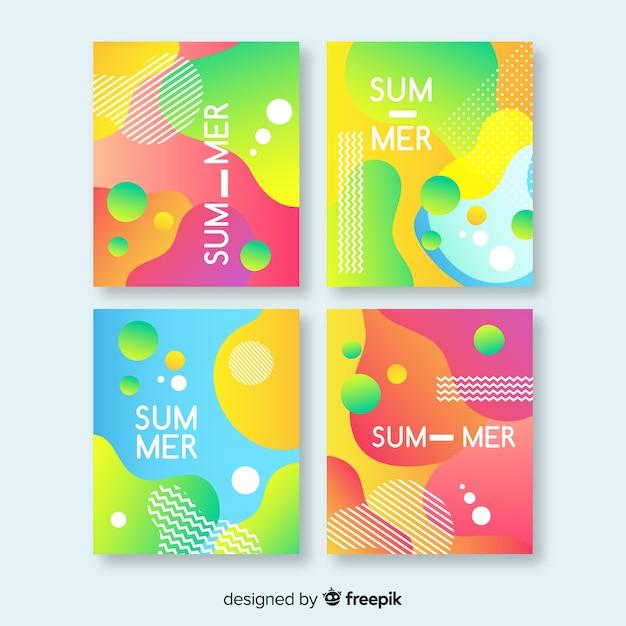 Raccolta di brochure estate astratta Vettore gratuito