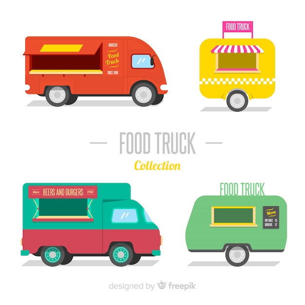 Raccolta di camion di cibo Vettore gratuito