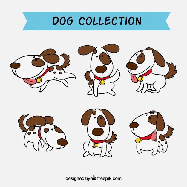 Raccolta di cani disegnati a mano Vettore gratuito