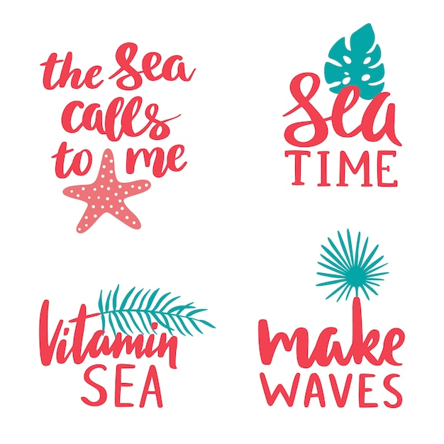 Raccolta di caratteri marini Vettore Premium