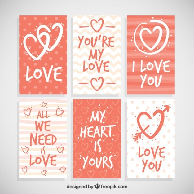 Raccolta di carta di amore con belle frasi Vettore gratuito