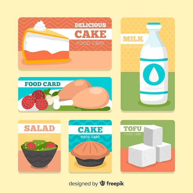 Raccolta di carte di cibo piatto Vettore gratuito