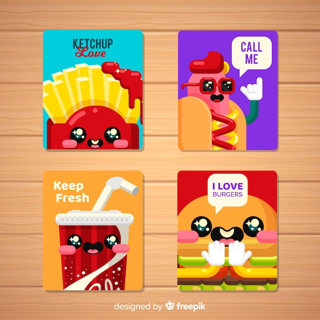 Raccolta di carte di cibo Vettore gratuito