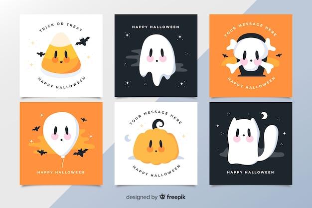 Raccolta di carte di halloween delle creature spettrali del fumetto animato Vettore gratuito