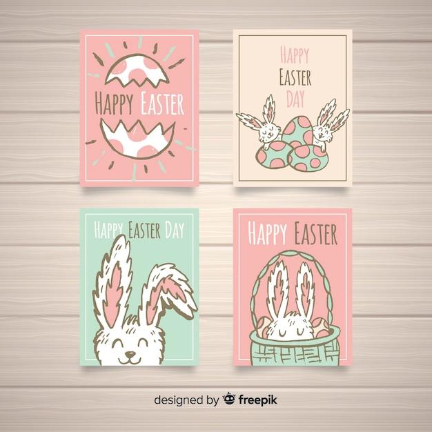 Raccolta di carte di pasqua di colore pastello Vettore gratuito