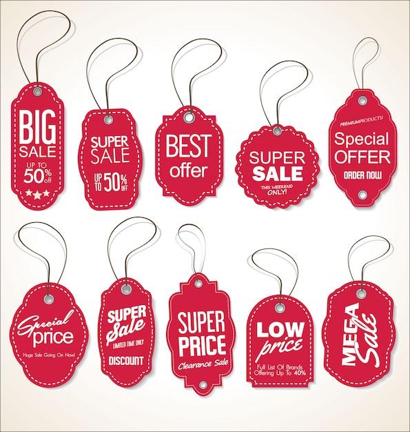 Raccolta di cartellini dei prezzi Vettore Premium