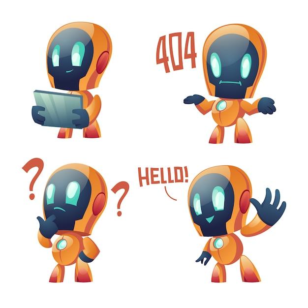 Raccolta di cartoni animati carino chat bot Vettore gratuito