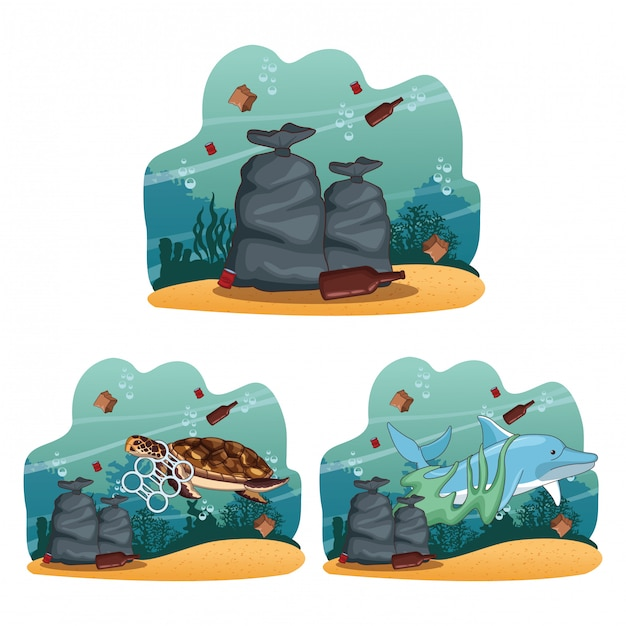 Raccolta di cartoni animati di pulizia del mare Vettore Premium