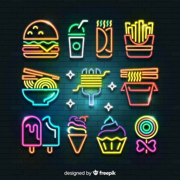 Raccolta di cibo al neon Vettore gratuito