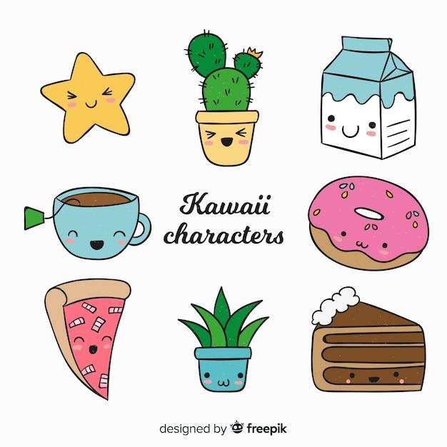 Raccolta di cibo disegnato a mano kawaii Vettore gratuito