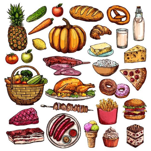 Raccolta di cibo disegnato a mano Vettore gratuito