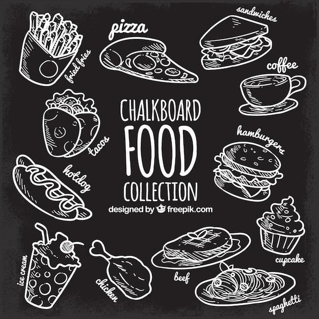 Raccolta di cibo in stile lavagna Vettore gratuito