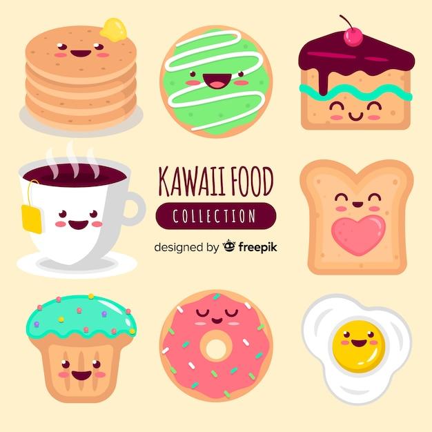 Raccolta di cibo kawaii Vettore gratuito