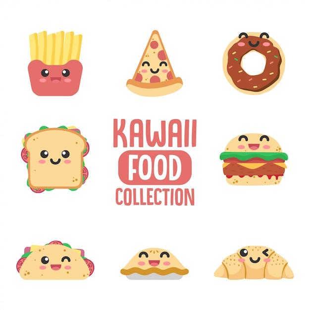 Raccolta di cibo kawaii Vettore Premium