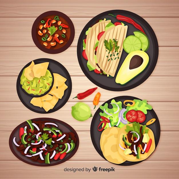 Raccolta di cibo messicano realistico Vettore gratuito