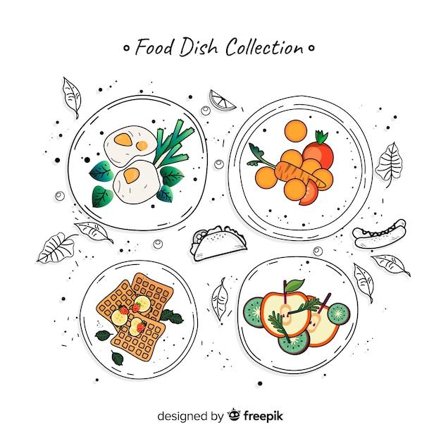 Raccolta di cibo piatto Vettore gratuito