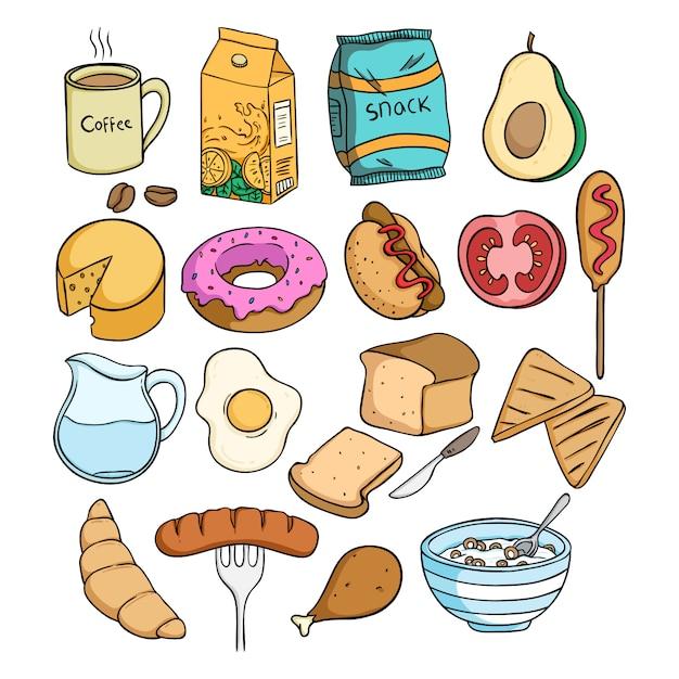 Raccolta di cibo pranzo con stile doodle colorato Vettore Premium