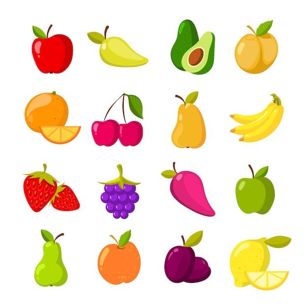 Raccolta di clipart di vettore di frutti del fumetto Vettore Premium