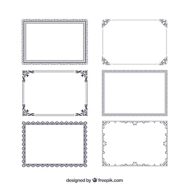 Raccolta di cornici certificato con ornamenti Vettore gratuito