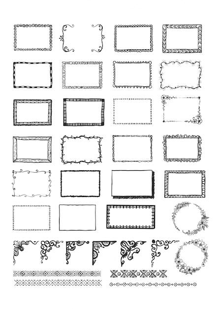 Raccolta di cornici disegnate a mano Vettore gratuito