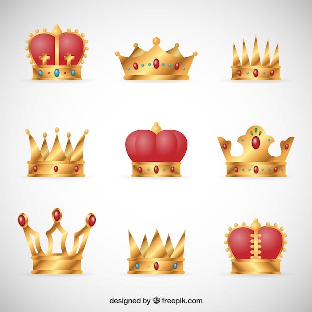 Raccolta di corone reali Vettore gratuito
