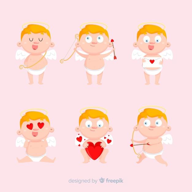 Raccolta di cupido san valentino bionda Vettore gratuito