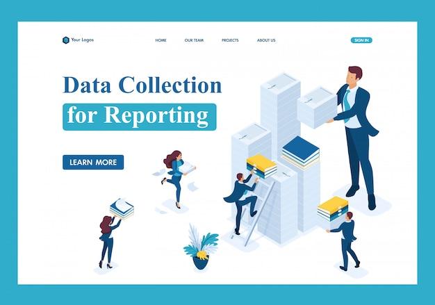 Raccolta di dati isometrici per la segnalazione, società di revisione nel periodo d'imposta pagina di destinazione Vettore Premium