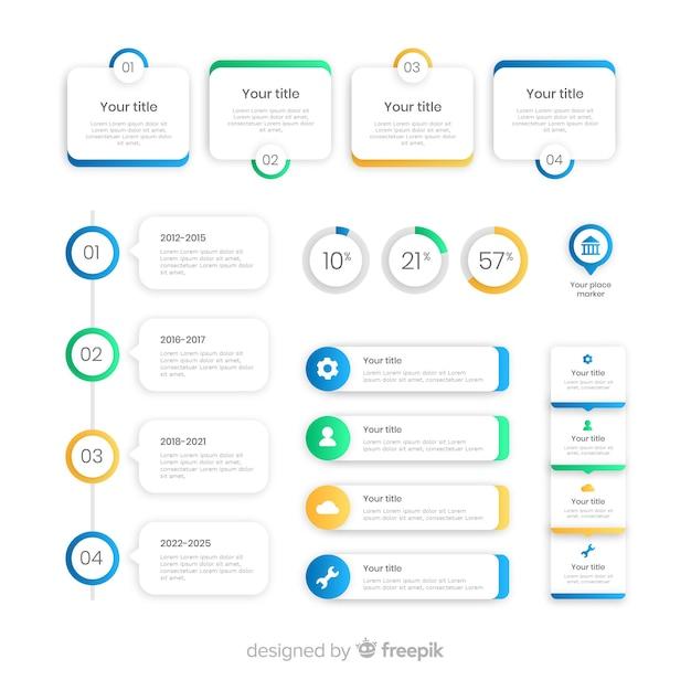 Raccolta di design piatto di elementi di infografica Vettore gratuito
