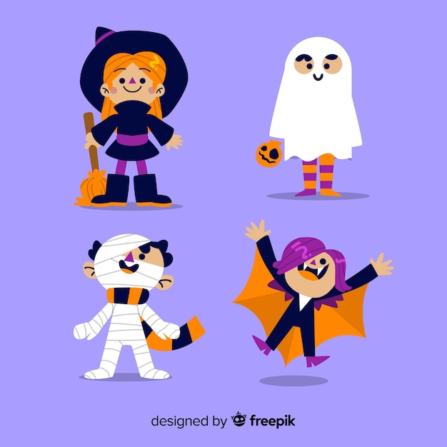 Raccolta di disegnati a mano bambino di halloween Vettore gratuito