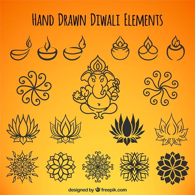 Raccolta di disegnati a mano elementi di diwali etnici Vettore gratuito