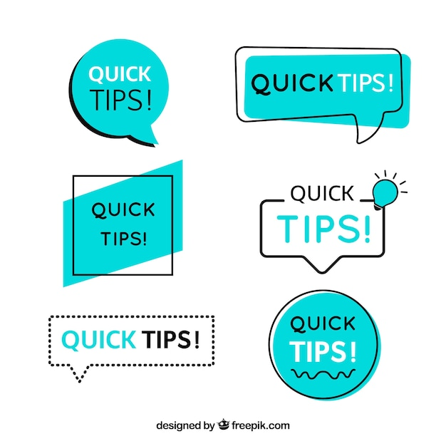 Raccolta di distintivi di consigli in stile piano Vettore gratuito