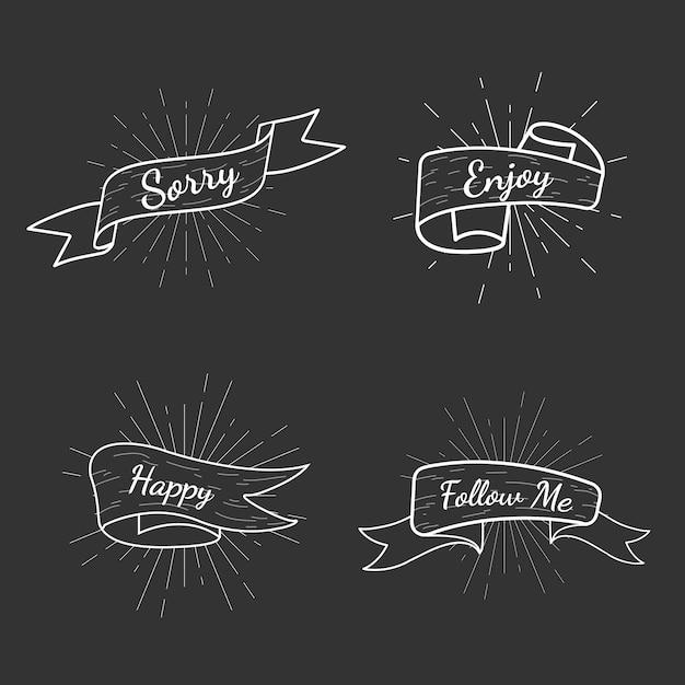 Raccolta di distintivi di testo banner Vettore gratuito