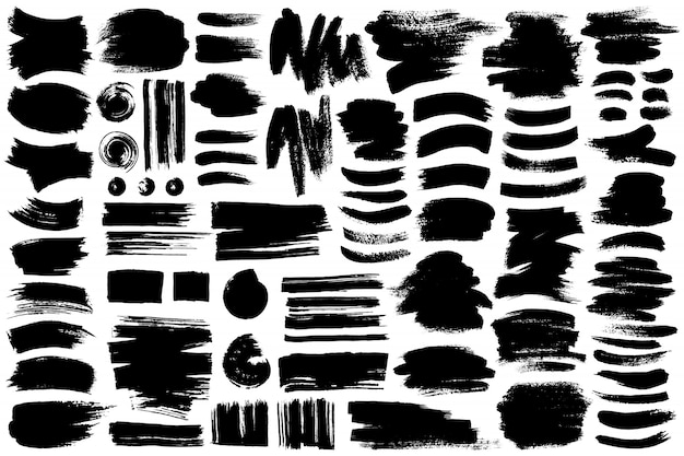 Raccolta di diverse pennellate di inchiostro Vettore Premium