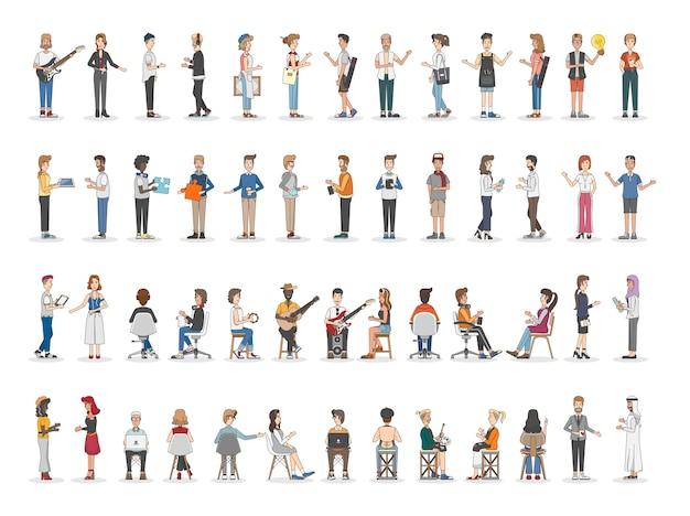Raccolta di diverse persone illustrate Vettore gratuito