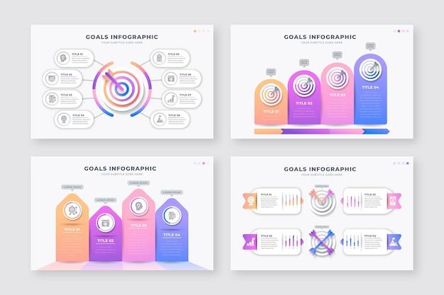 Raccolta di diversi obiettivi infografica Vettore gratuito
