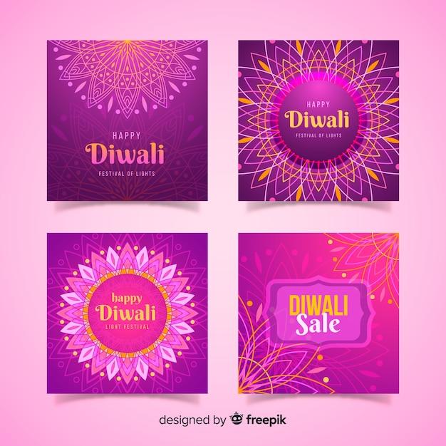Raccolta di diwali festival instagram post Vettore gratuito