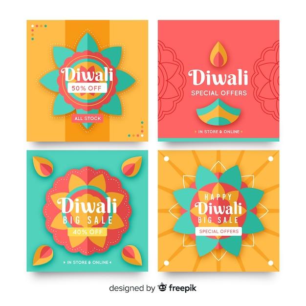 Raccolta di diwali holiday instagram post Vettore gratuito